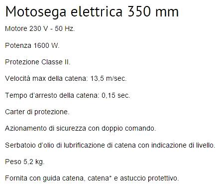 caratteristiche Motosega elettrica 350 mm