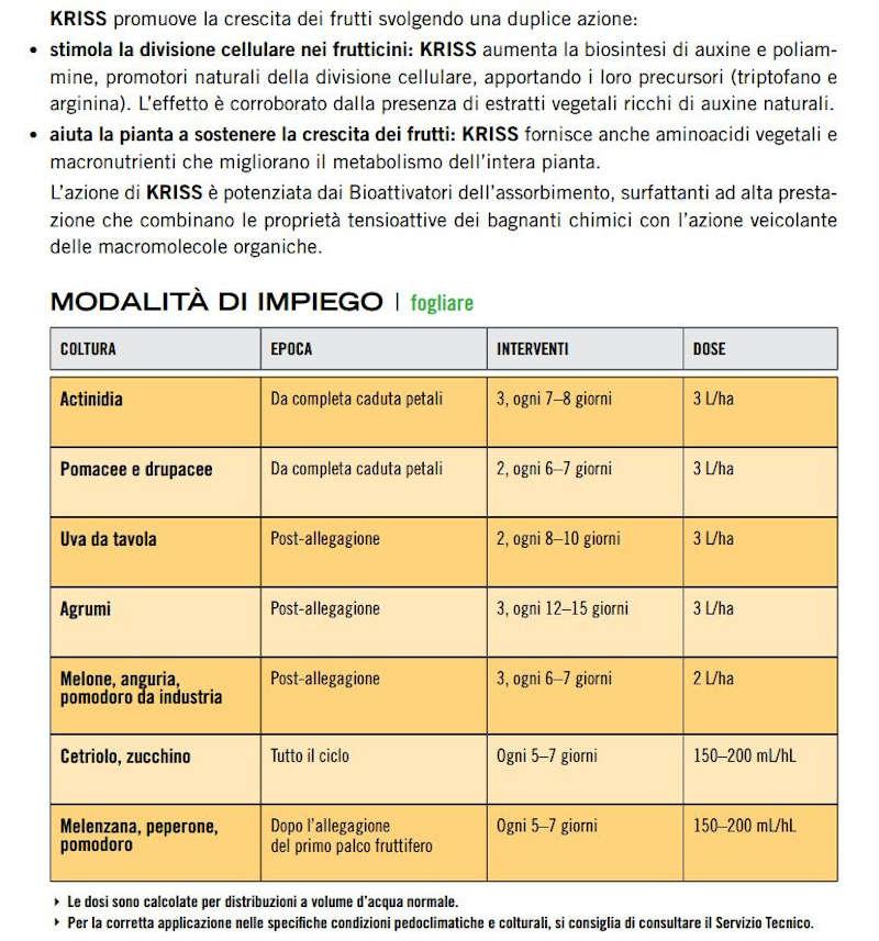 kriss-biolchim-biopromotore-dellingrossamento-dei-frutti-impiego