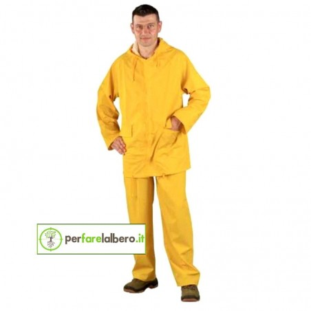 Completo Impermeabile giacca e pantalone giallo in PU-PVC