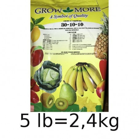 Grow More 30. 10. 10 + TE Concime NPK Intertec - 5 LB pari a kg 2,4