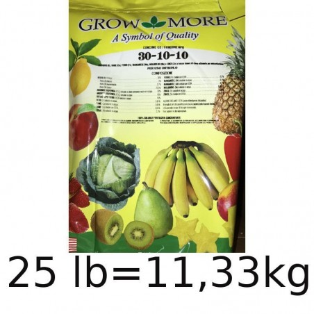 Grow More 30. 10. 10 + TE Concime NPK Intertec - 25 LB pari a 11,33 kg