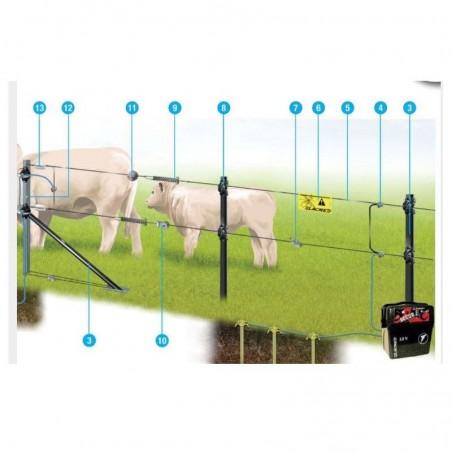 Recinto Elettrico completo per Bovini Suini Pecore Capre 400 metri a batteria e pannello solare