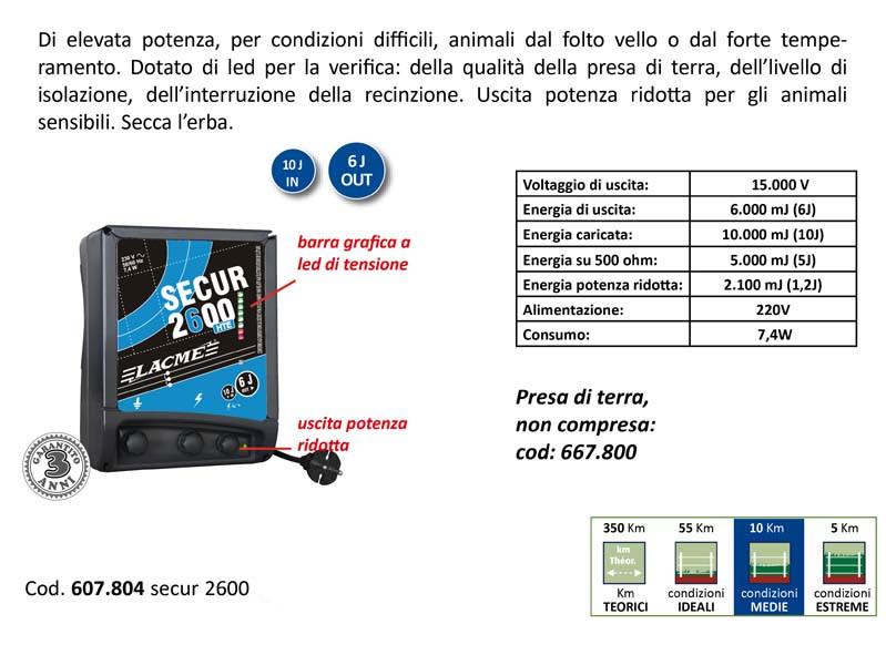 Elettrificatore Secur 2600 Lacme 220V J.6 HTE per recinto elettrico