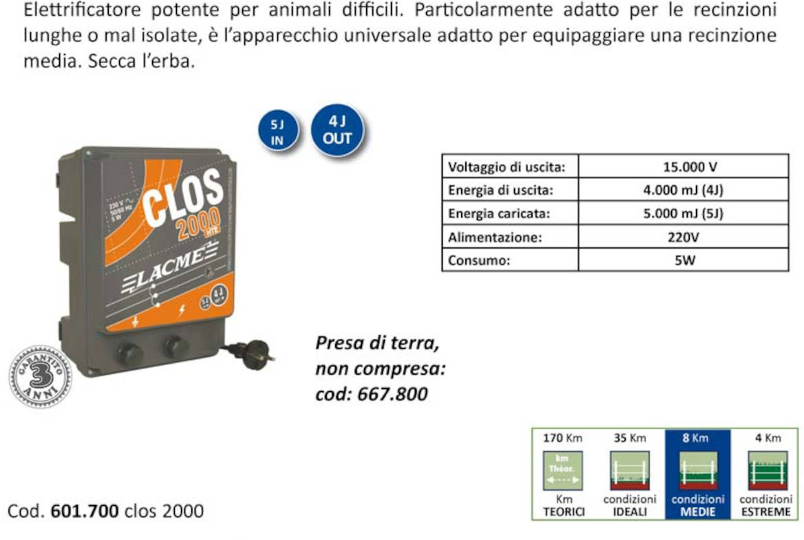 recinto elettrificatore lacme 601700 clos 2000