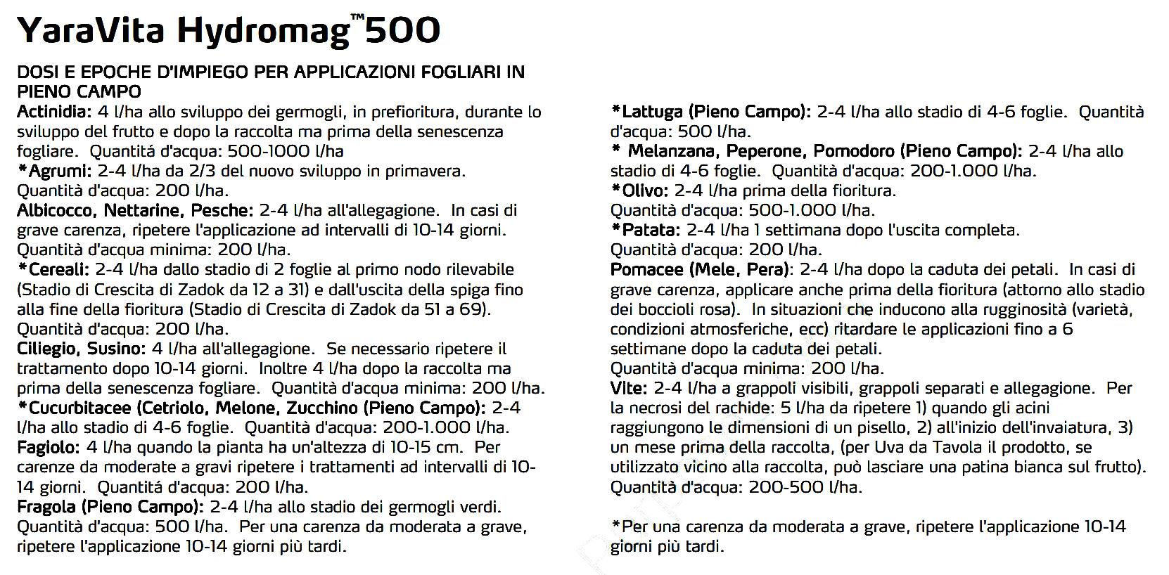 hydromag-500 impiego